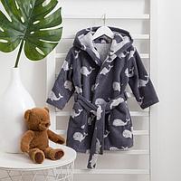 Халат махровый детский Крошка Я 'Зоопарк' р-р 32, цв. серый, 100хл, 360 г/м2