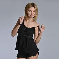 Пижама женская (топ, шорты) 'АССОЛЬ', цвет чёрный, размер 48