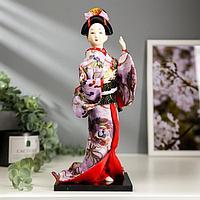 Кукла коллекционная 'Японка в цветочном кимоно с бабочкой на руке' 30х12,5х12,5 см