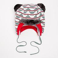 Шапка для мальчика, цвет хаки, размер 46-48