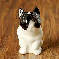 Статуэтка фарфоровая 'Французский Бульдог бело-чёрный', 8 см, авторская роспись