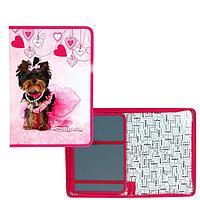Папка для труда А4, молния вокруг, откидная планка, ламинированный картон, 'Оникс', ПТ-Р8, Pretty dog