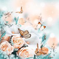 Картина на подрамнике 'Бабочки на розах' 50*100 см