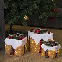 Фигура текстиль 'Подарки'Кубы заснеженные15х20х25 см,60 LED, 220V,8 режимов,Т/БЕЛЫЙ