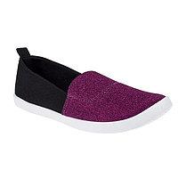 Слипоны женские, цвет фиолетовый/чёрный, размер 39