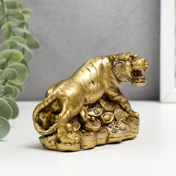 Нэцке полистоун бронза 'Тигр на горке монет и слитков' 6,5х9х5,7 см - фото 2