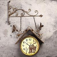 Часы настенные двойные, серия Садовые, 'Скворечник', 42х77 см