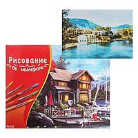 Картина по номерам 40x50 см в коробке, 20 цветов 'Великолепные дома у моря'
