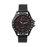 Часы наручные 'Пальмира', кварцевые, l23 см, d4.5 см, циферблат чёрный, ремешок на магните 47315