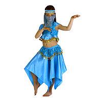 Карнавальный костюм 'Восточная красавица. Лейла', повязка, топ, юбка, цвет голубой, р-р 30, рост 110-116 см