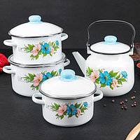 Набор посуды 'Виола', 4 предмета 3 кастрюли 2 л, 3 л, 4 л с крышками, чайник 3,5 л