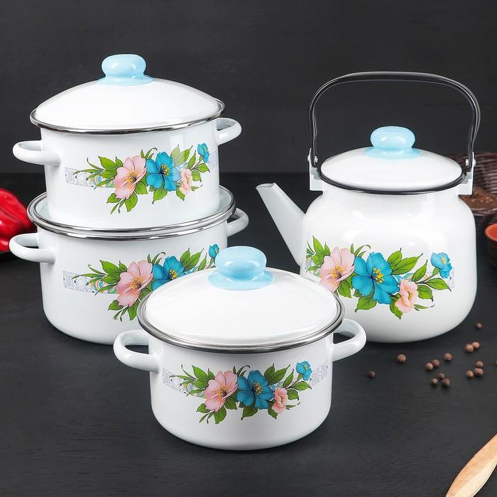 Набор посуды 'Виола', 4 предмета 3 кастрюли 2 л, 3 л, 4 л с крышками, чайник 3,5 л - фото 1