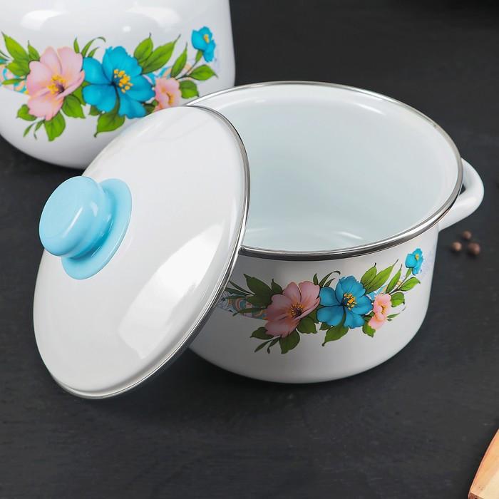 Набор посуды 'Виола', 4 предмета 3 кастрюли 2 л, 3 л, 4 л с крышками, чайник 3,5 л - фото 2