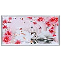 Картина 'Лебеди в цветочной арке' 33х70(36х73) см
