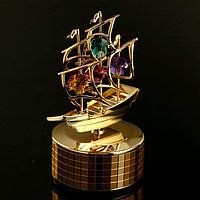 Музыкальный сувенир с кристаллами Swarovski 'Парусник' 12,2х8,3 см
