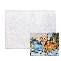 Картина по номерам на холсте, 40 x 50 см 'Волк в зимнем лесу'