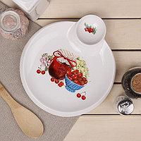 Блюдо круглое с соусником Доляна 'Вишнёвое варенье', 22,5x20x2 см