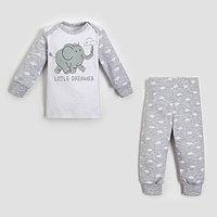 Комплект джемпер, брюки Крошка Я 'Слоник', серый, рост 62-68 см
