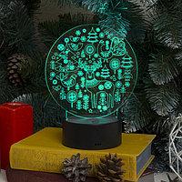 Подставка световая 'Новогодние фигурки', USB, AА*3 (не в компл), 10 LED, RGB