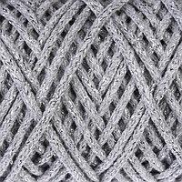Шнур для вязания 3мм 97 хлопок, 3 люрекс 50м/130гр (св. серый/серебр. люрекс)
