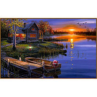 Алмазная мозаика 'Дом возле озера', 39 цветов