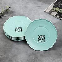 Набор тарелок 'Кошка', 20 см, голубые, 6 шт