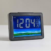 Часы настольные электронные будильник, термометр, календарь 3 ААА, микс