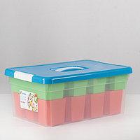 Контейнер для хранения с крышкой Kid's Box, 10 л, 37x25x16 см, 12 вставок, 2 лотка, цвет МИКС