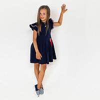 Платье для девочки, цвет тёмно-синий, рост 128 см