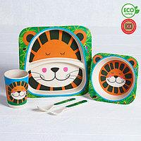 Набор детской посуды из бамбука 'Джунгли', 5 предметов тарелка, миска, стакан, столовые приборы