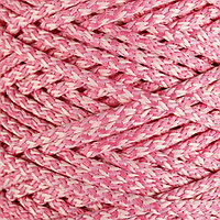 Шнур для вязания с сердечником 100 полиэфир, ширина 5 мм 100м/550гр (меланж розовый)