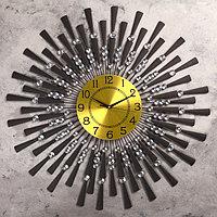 Часы настенные, серия Ажур, 'Чёрные лучики', маленькие кристаллы, d68 см под золото,