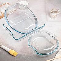 Набор посуды для запекания, 5 предметов кастрюля круглая 1,5 л, кастрюля овальная 2,5 л, форма прямоугольная