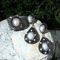 Гарнитур 2 пр серьги, кольцо, вечерний 'Жемчуг' , безразмерное