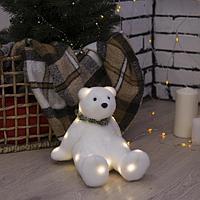Фигура световая 'Белый мишка', 22 LED, 16х20х17 см, фиксинг, от батар. (не в компл)