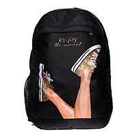 Рюкзак молодежный Calligrata с мягкой спинкой 40х26х15 см дев 'Кеды', цвет чёрный
