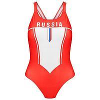 Купальник спортивный, слитный, подростковый RUSSIA, размер 42