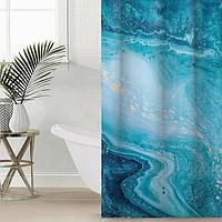 Штора для ванной комнаты 'Голубая бездна', 145x180 см, оксфорд