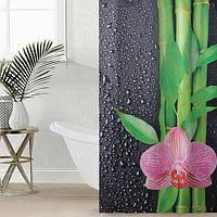 Штора для ванной комнаты 'Капельки на чёрном', 145x180 см, оксфорд