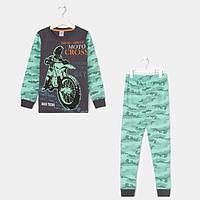 Пижама для мальчика, цвет мятный/камуфляж, рост 104-110 см (30)