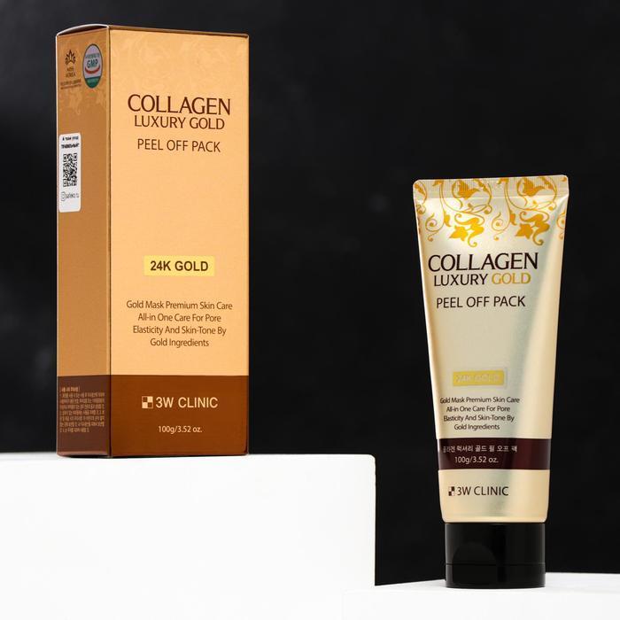 Золотая маска-плёнка для лица 3W Clinic Collagen Luxury Gold, 100 мл - фото 1
