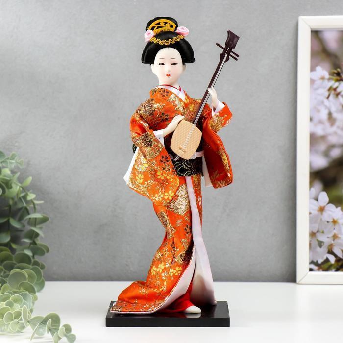 Кукла коллекционная 'Гейша с музыкальным инструментом' 32х12,5х12,5 см - фото 1