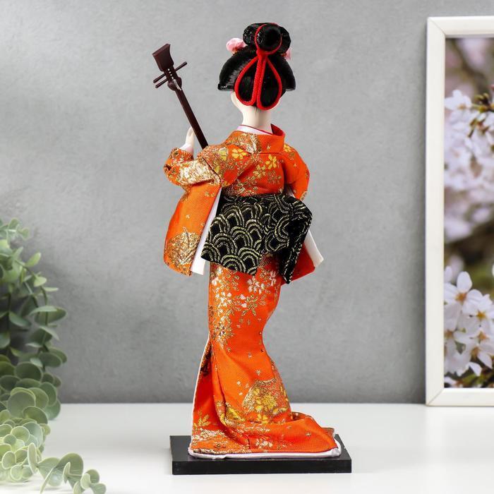 Кукла коллекционная 'Гейша с музыкальным инструментом' 32х12,5х12,5 см - фото 3