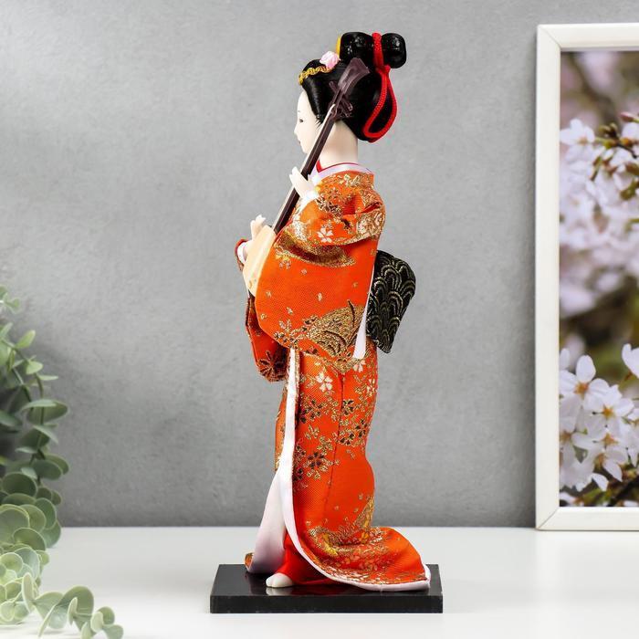 Кукла коллекционная 'Гейша с музыкальным инструментом' 32х12,5х12,5 см - фото 4