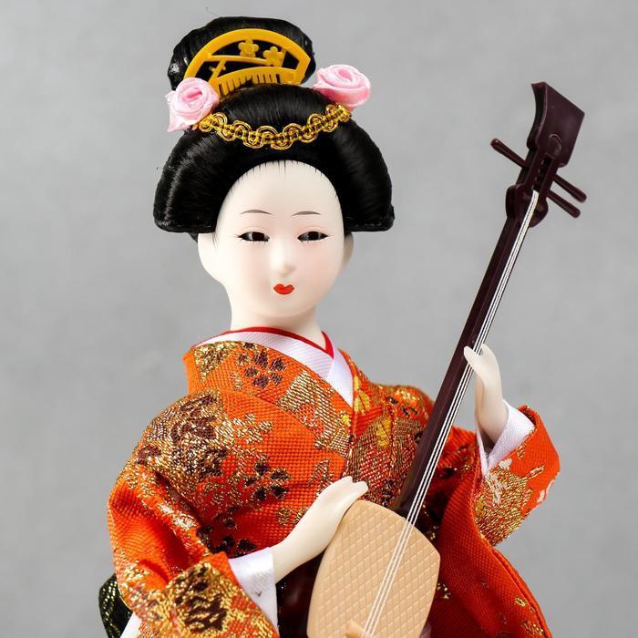 Кукла коллекционная 'Гейша с музыкальным инструментом' 32х12,5х12,5 см - фото 5