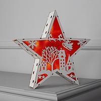Фигура дерев. 'Звезда Двор и Олени', 22х22х4 см, AАA*2 (не в компл.), 6 LED, красный фон