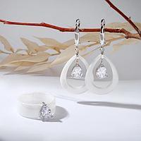 Гарнитур посеребрение 2 предмета серьги, кольцо, капли 'Керамика', цвет белый, 19 размер