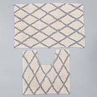 Набор ковриков для ванны AntiSlip, 2 шт 50x80 см, 50x50 см, 100 хлопок, цвет белый