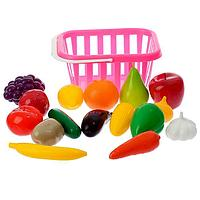 Набор 'Фрукты и овощи' в корзине, 17 предметов, цвета МИКС