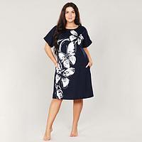 Платье женское, цвет тёмно-синий, размер 52